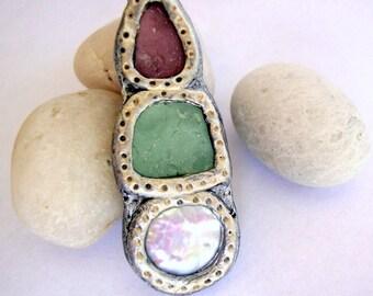Aqua Amethyst and Pearl Seaglass Pendant