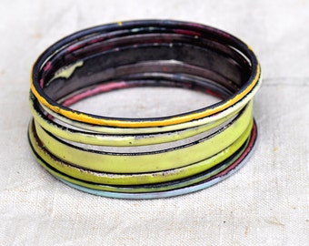 Handcrafted Bangle Set - 'Artful Dodger' - Mixed Field Tones Enamel Bracelets