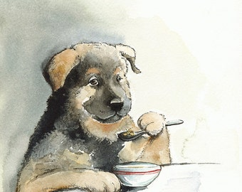 dog art, dog print, cute dog art, dog at table, Kibble Every Day - large print