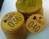 vintage brass number tag jewelry findings steampunk supplies number  tool tag   N12