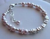 Sterling Silver Name Pearl Adult Bracelet,  Personalized Birthstone Name Bracelet, Pink Bracelet, Mother Bracelet