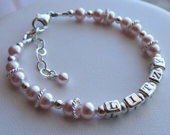 Sterling Silver Name Pearl Adult Bracelet,  Personalized Birthstone Name Bracelet, Pink Bracelet, Mother Bracelet