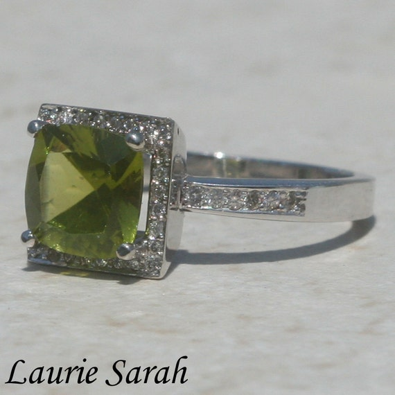 Cushion Cut Engagement Ring, Square Cushion Cut Peridot Diamond Halo Engagement or Right Hand Ring - LS366