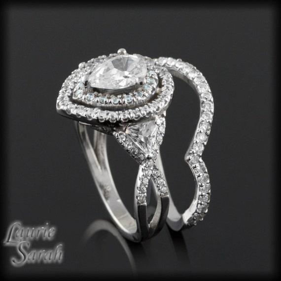 Tear Shaped CZ Wedding Set with Aquamarines and Diamond Alternative White Sapphires - LS1683