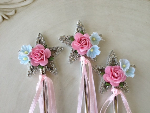 Shabby chic magic wands for princess birthday party set of six - Shabby chic wand ...