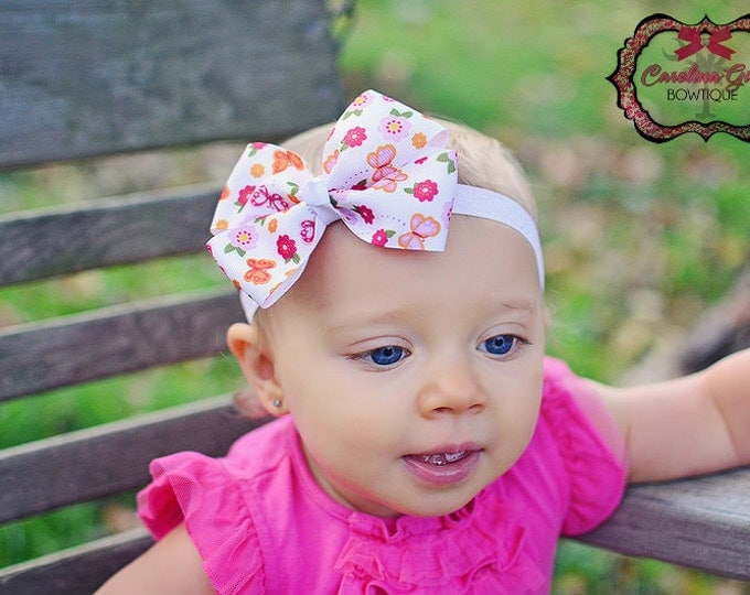 Butterfly and Flowers Bow Band - Bow on an Elastic Headband Baby Infant Toddler - Girls Hair Bows