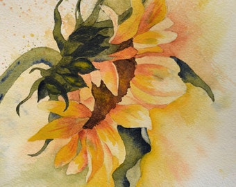 Art, Fine Art Print of Yellow Sunflower- Reproduction of Watercolor Painting