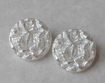 Vintage Glass Buttons- Frosty White