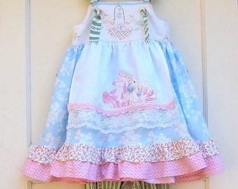 Toddler Girls Spring Bunny Dress Blue or Mint with Pink