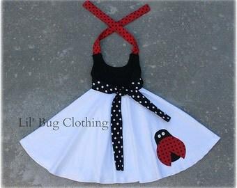 Ladybug Dress, Comfy Knit Summer Ladybug Dress, Birthday Girl Ladybug Dress, Custom Boutique Girl Ladybug Dress,