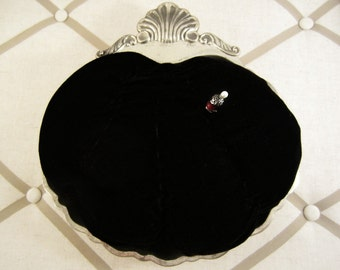 Black Velvet Pincushion Oversized Pinkeeper Display Stand, Hat Pins, Countertop Display by Practical Elegance