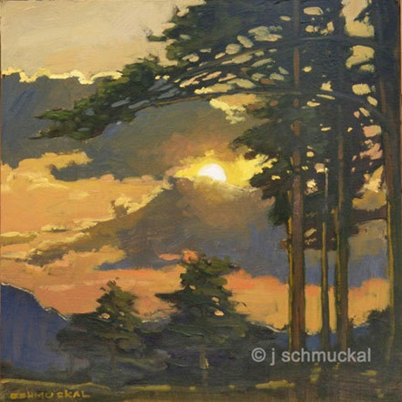 Mission Arts and Crafts CRAFTSMAN Pine Sunset - Giclee Fine Art PRINT of Original Painting matted 12x12 by Jan Schmuckal