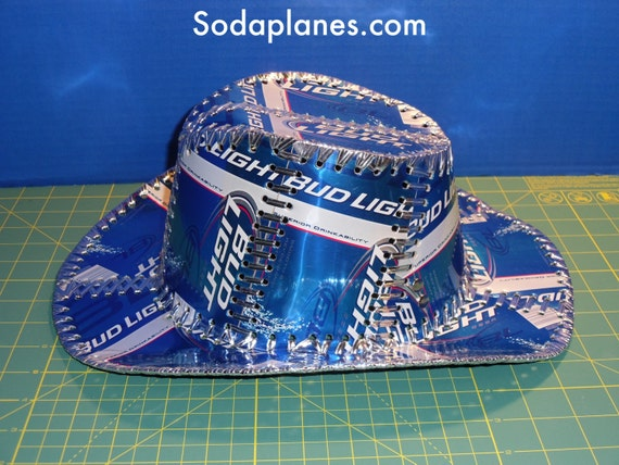 Beer Can Cowboy Hat Hand Stitched Made From Bud Light Beer