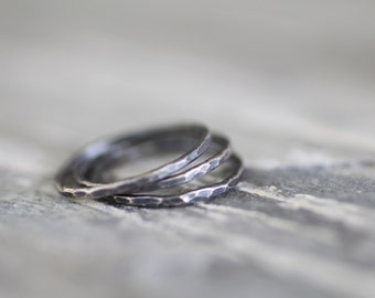 Set of Three Sterling Silver Stacking Rings. Heavy 16 Gauge Wire. Textured and Oxidized