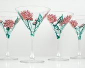 Pink Peonies Martini Glasses--Set of 4 Hand-Painted Glasses