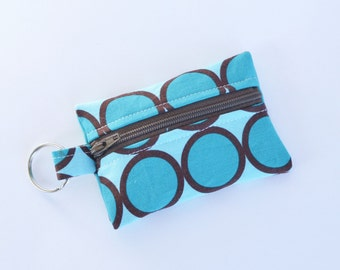 Small Zipper Pouch, Ear Bud Holder, Credit Card Case, Turquoise Ring Dot