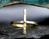 gold line ring modern minimalist textured satin brass simple gold bar ring brushed brass wire gold cross ring SPARKLE STRIP RING- size 7 3/4