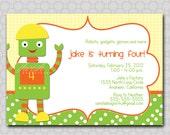 Robot Invite - boy- Digital Printable Birthday 5x7 Invitatation