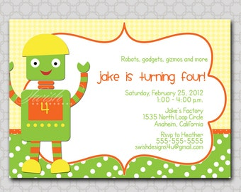 Robot Invite - boy- Digital Printable Birthday 5x7 Invitatation