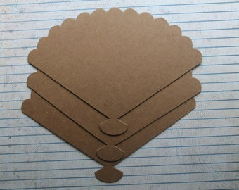 3 Bare Chipboard FAN shaped Diecuts 6 inches wide