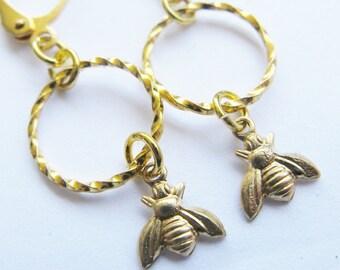 bee earrings - gold bee earrings - gold earrings - beehive - bumblebee jewellry