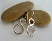 Sterling Silver Hammered Soldered Dangle Circle Earrings
