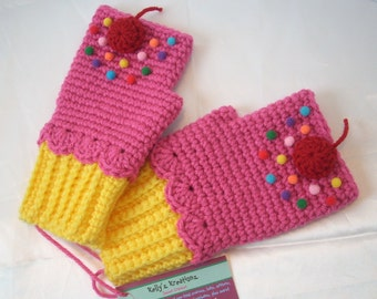 Lemon Yellow Cupcake Pink Mittens Crochet Fingerless Texting Gloves Ready To Ship
