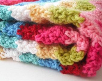 Crochet ripple blanket // baby girl // girl // lap blanket // rainbow ripple blanket ( sale )