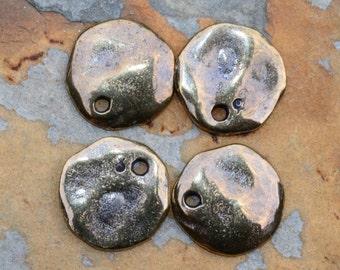 4 Mykonos Greek Casting Antique Brass Cornflake Dangle Beads