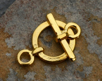 Greek Simple Gold Toggle Clasp 18mm - 2 sets