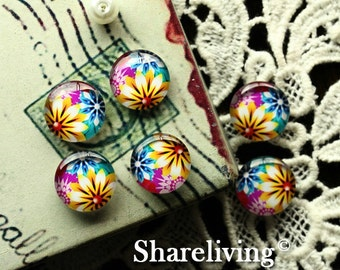 Glass Cabochon, 8mm 10mm 12mm 14mm 16mm 20mm 25mm 30mm Round Handmade photo glass Cabochons (Flowers)  -- BCH177B