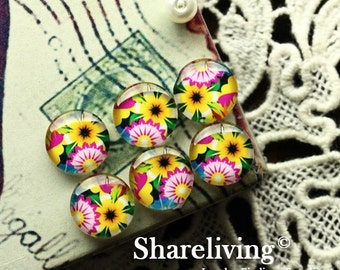 Glass Cabochon, 8mm 10mm 12mm 14mm 16mm 20mm 25mm 30mm Round Handmade photo glass Cabochons (Flowers)  -- BCH177E
