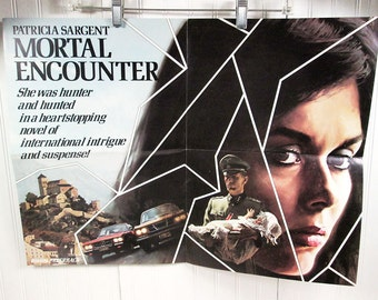 Vintage Book Advertising Poster - Mortal Encounter by Patricia Sargent - Thriller Suspense Novel
