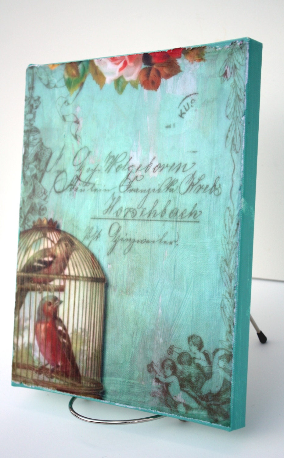 Shabby cottage chic print decoupaged on canvas - Cuadros shabby chic ...