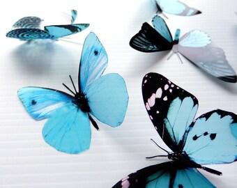 36 x Special Aqua 3D Butterflies great for Weddings, Crafts