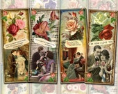"""All You Need Is LOVE - 8 Charming Romantic Vintage Art Bookmarks-2""""x5"""" -Printable  Collage Sheet Jpg Digital File- -BuY OnE GeT OnE FREE"""