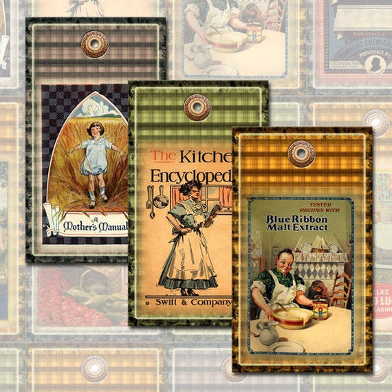 CooK BooK Covers-CHaRMiNG ViNtAgE Kitchen ArT Hang/Gift