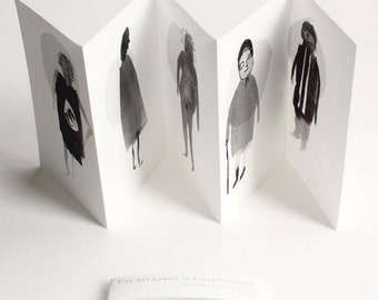 Art Zine - Mini Zine - Handmade Book. Five Czechoslovakian Cat Ladies.