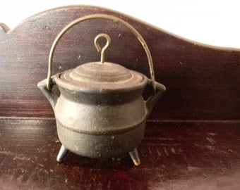 Vintage Cast Iron Small Decorative Bucket with Cover