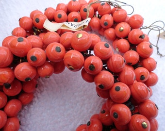 25 Vintage CORAL Color Glass Drop Beads, Made in Japan, 6-7mm