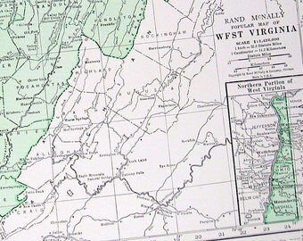 West Virginia, Wisconsin Map  - US State Map - 2 Sided Book Page - 1937 Vintage Map from World Atlas