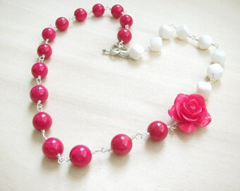 Pink  necklace White necklace  Flower necklace Neon necklace