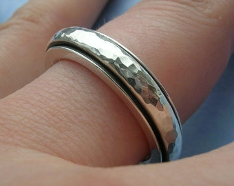 Sterling Silver Spinner Band Ring - Hallmarked Sterling Silver - Size 9