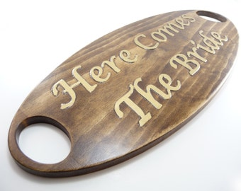 WEDDING SIGN Here Comes The Bride Wooden Carved Brown Gold Rustic Elegant Casual Photo Prop Ring Bearer Flower Girls Sign To Carry