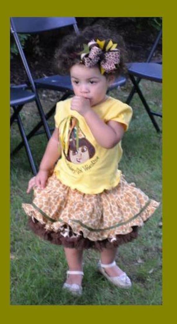 CUSTOM DORA  Birthday Safari Twirl Skirt, Fluffy Petti and Appliqued Shirt ,    Custom bow can be added