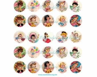 Digital Collage Sheet of Vintage Retro Kitschy Girls - One Inch Circles -1x1inch - bottle cap - INSTANT DOWNLOAD