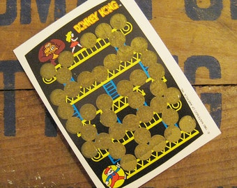 Vintage Scratch Card - Donkey Kong Rub Off Game - Yellow Version - 80s Video Games, Vintage Nintendo, Vintage Arcade, Vintage Donkey Kong