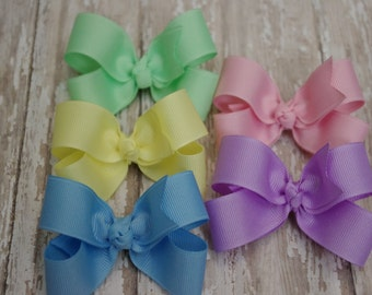 Toddler Hair Bow 3 Inch 5 Pack Alligator Clip Baby Hairbow Pastel Set Easter