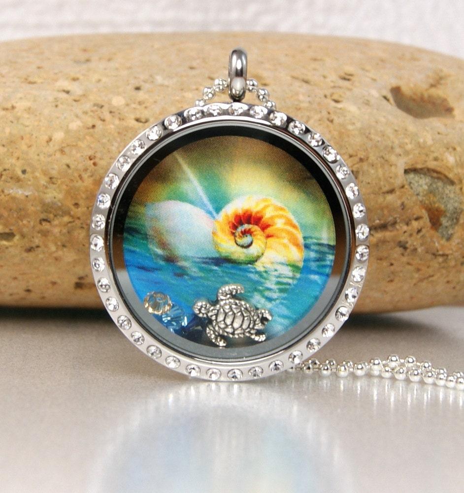 Memory Charm Bracelets: SaLeMemory Floating Charm Locket Necklace Beach
