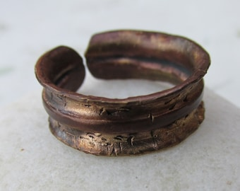 Flared and Fold Formed Hammered Brass Ring